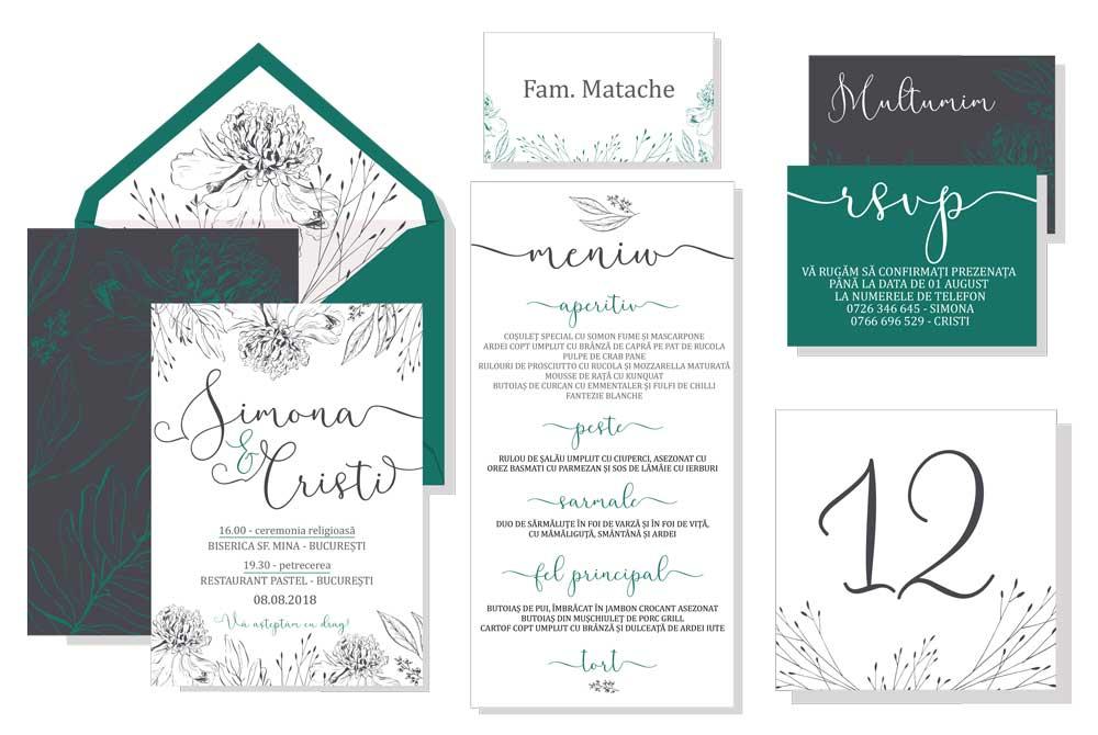 Invitatii Si Papetarie De Nunta Design Modern Print De Calitate