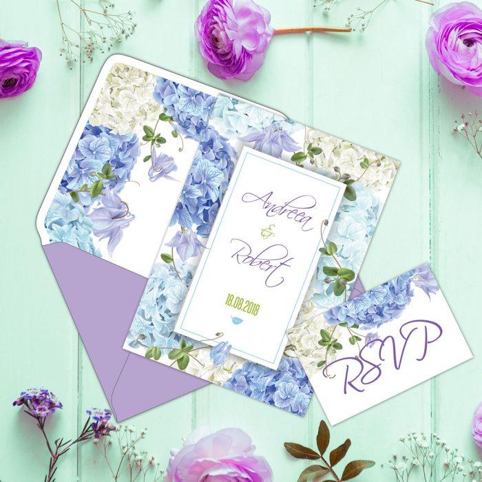 invitatie nunta mov