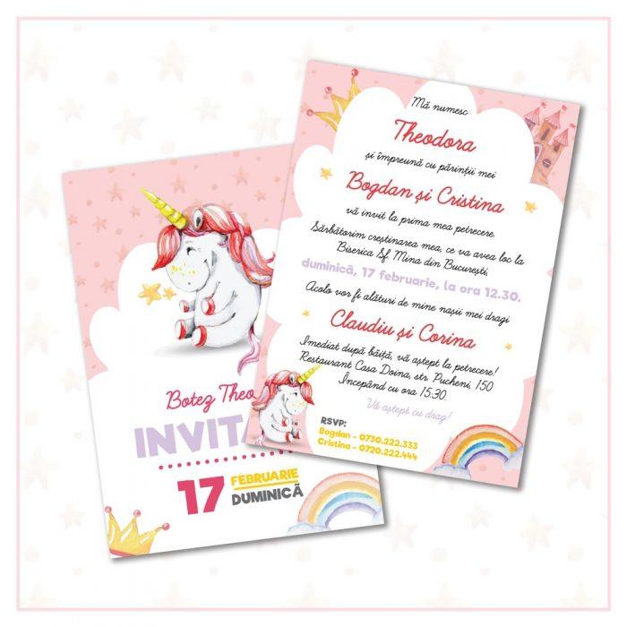 invitatie botez unicorn