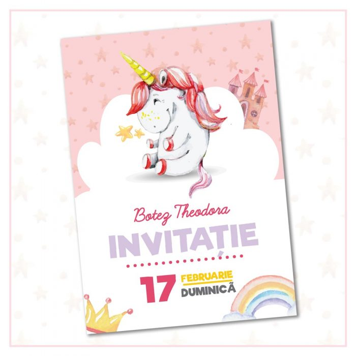 invitatie botez unicorn