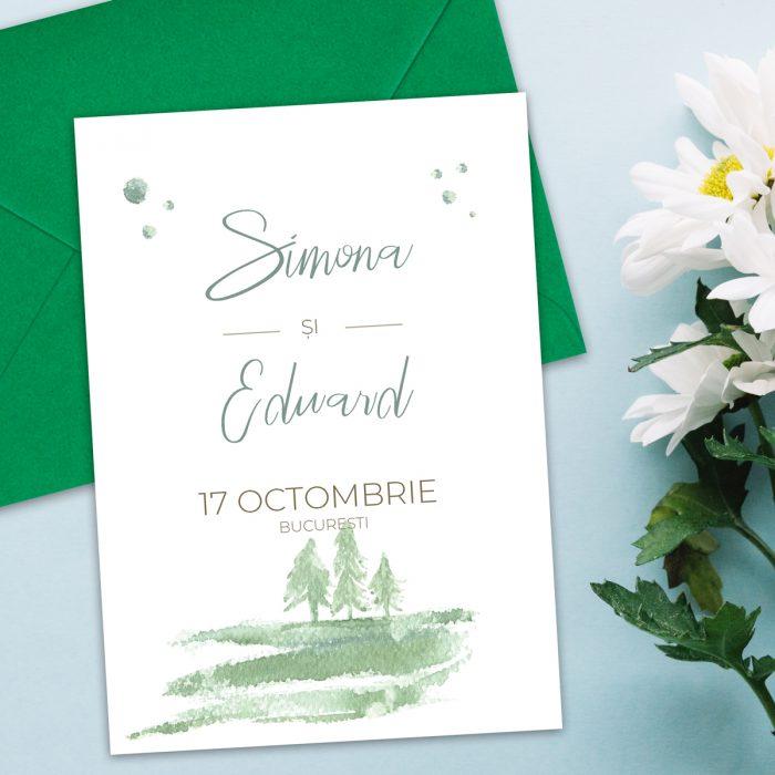 invitatie nunta padure natura verde