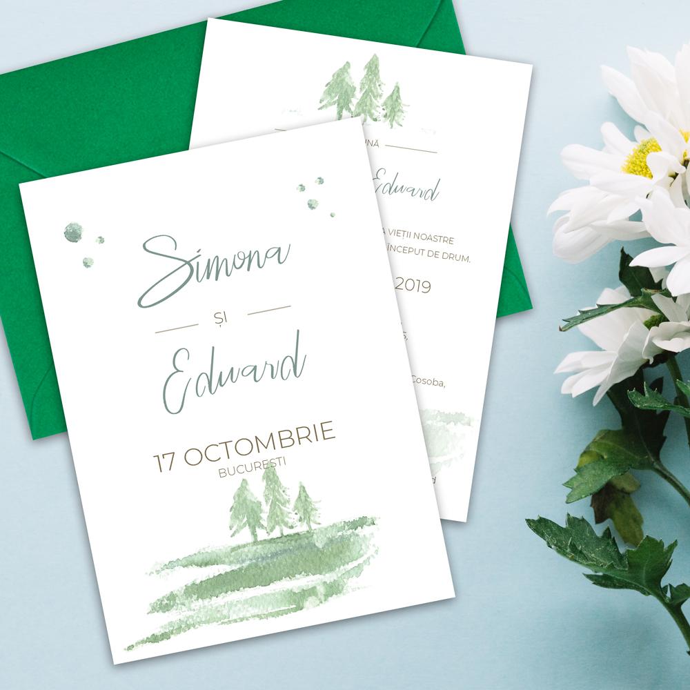invitatie nunta padure natura watercolor