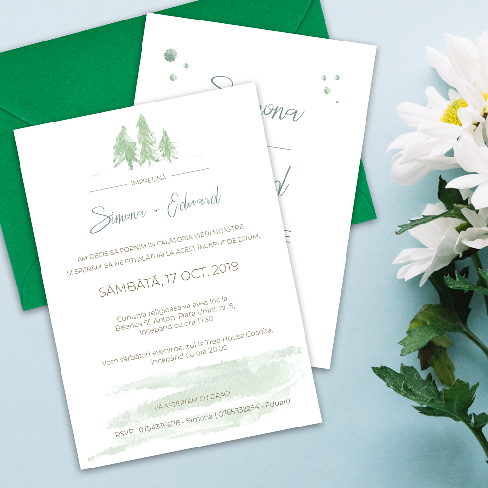 invitatie nunta padure natura