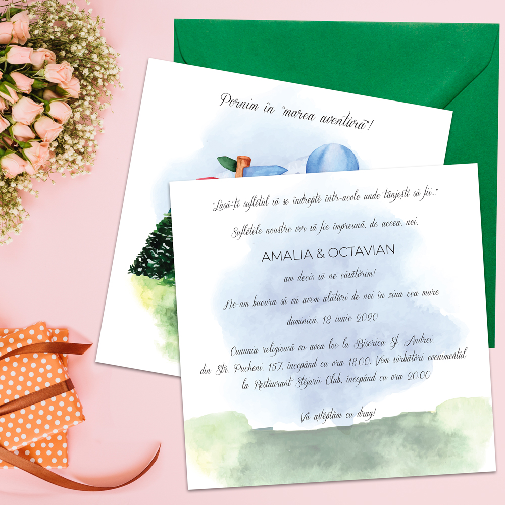 Invitatie nunta calatorii travel