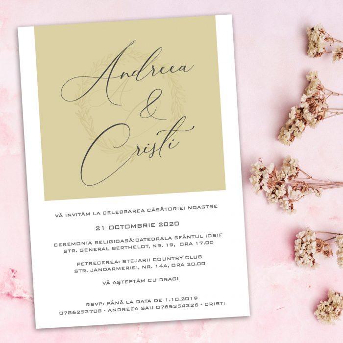 Invitaie nunta cu calc auriu