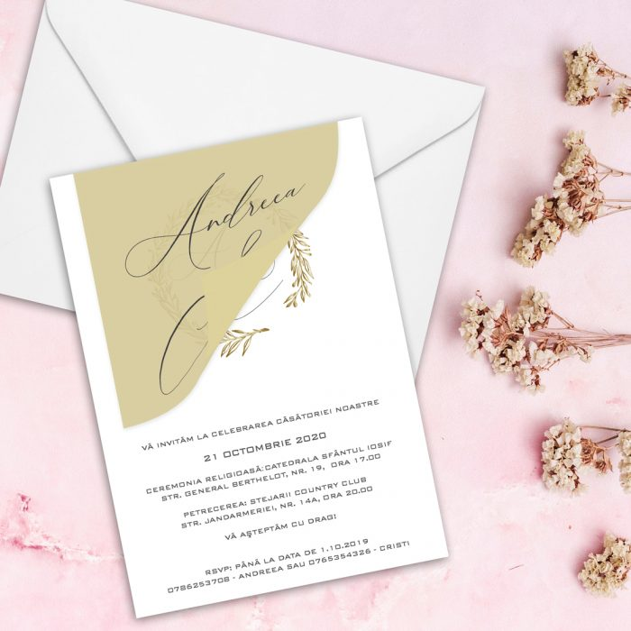 Invitatie nunta cu auriu