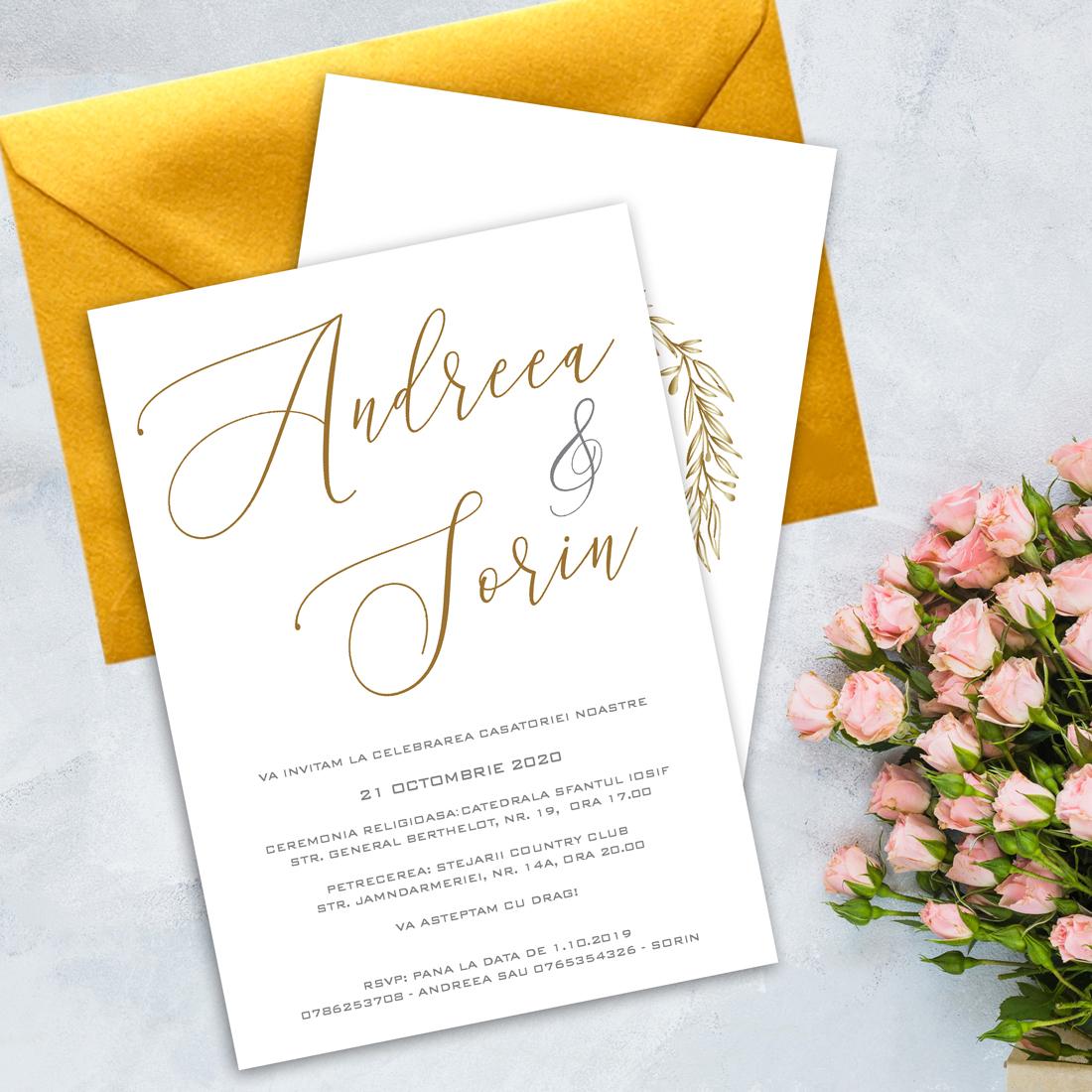 Invitatie nunta numele mirilor