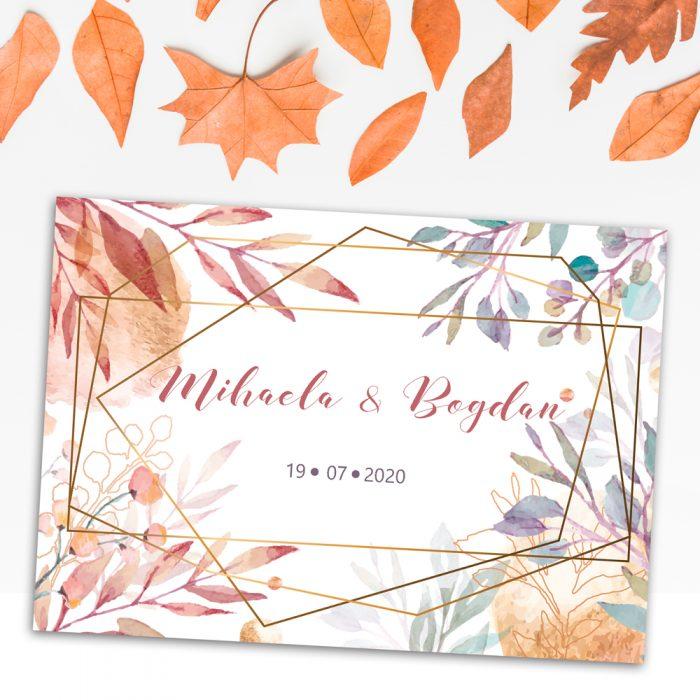 invitatie nunta frunze auriu