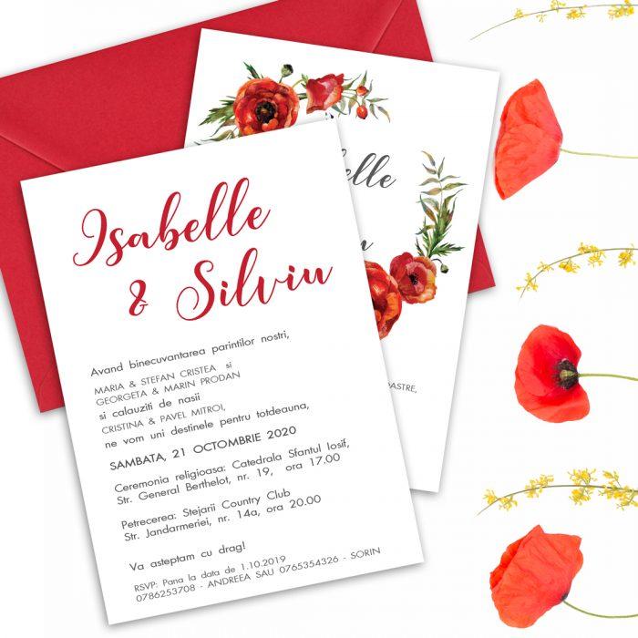 invitatie nunta cu maci