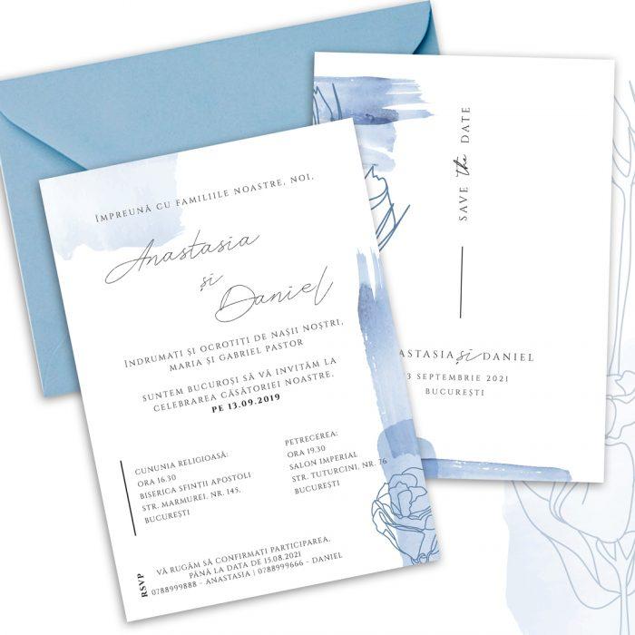 invitatie nunta watercolor