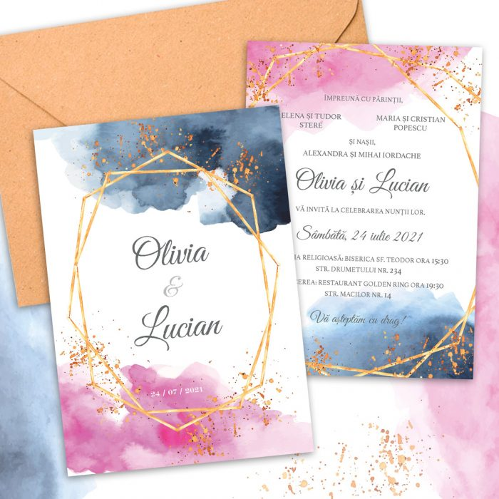 invtatie nunta watercolor