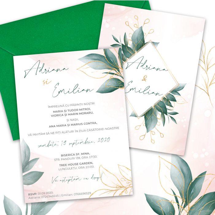 invitatie verde auriu